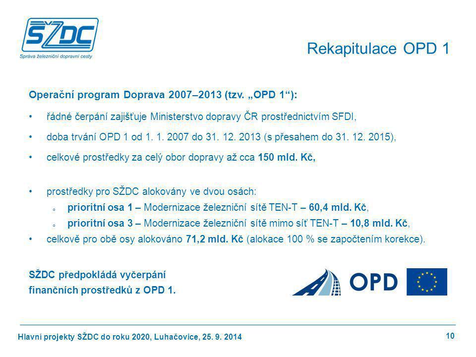 """Rekapitulace OPD 1 Operační program Doprava 2007–2013 (tzv. """"OPD 1 ):"""