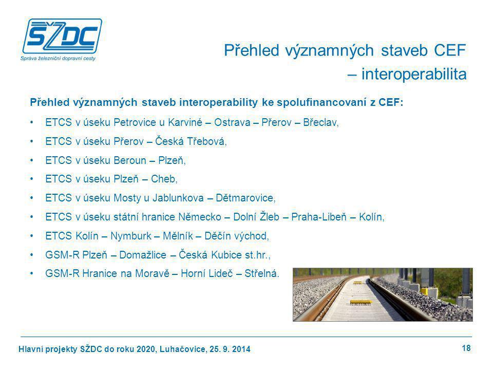 Přehled významných staveb CEF – interoperabilita
