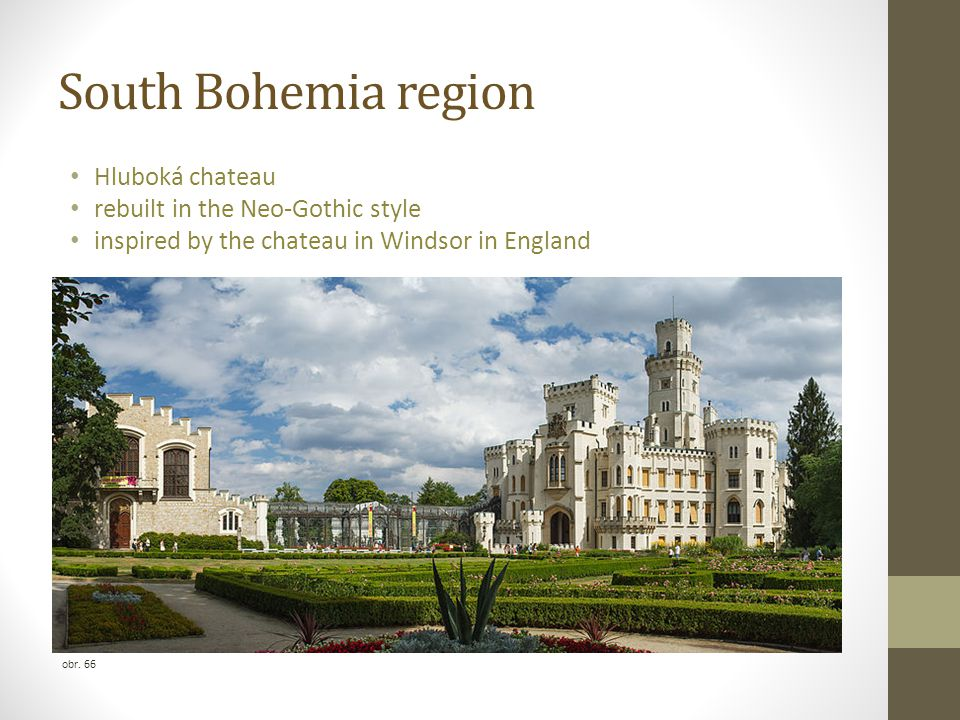 South Bohemia region Hluboká chateau rebuilt in the Neo-Gothic style