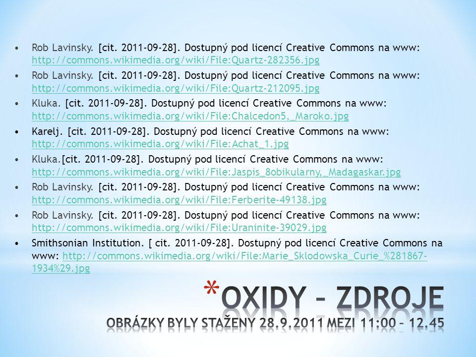 OXIDY – ZDROJE OBRÁZKY BYLY STAŽENY 28.9.2011 MEZI 11:00 – 12.45