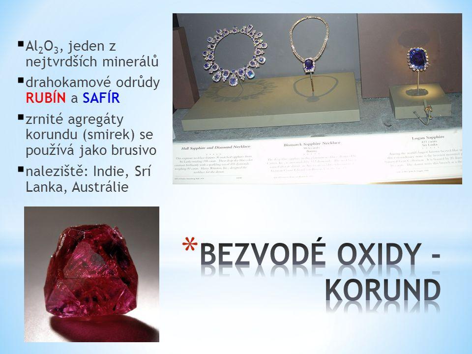 BEZVODÉ OXIDY - KORUND Al2O3, jeden z nejtvrdších minerálů