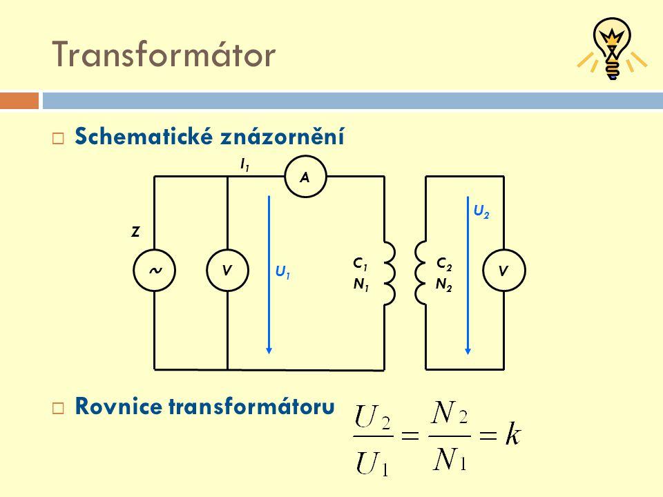 Transformátor Schematické znázornění Rovnice transformátoru A V ~ I1