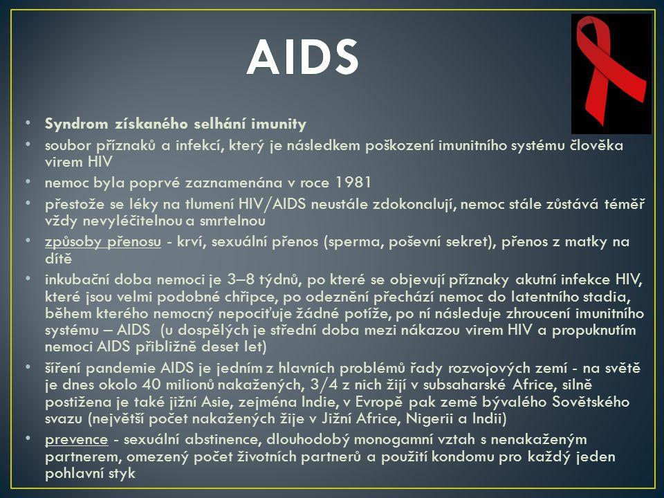 AIDS Syndrom získaného selhání imunity