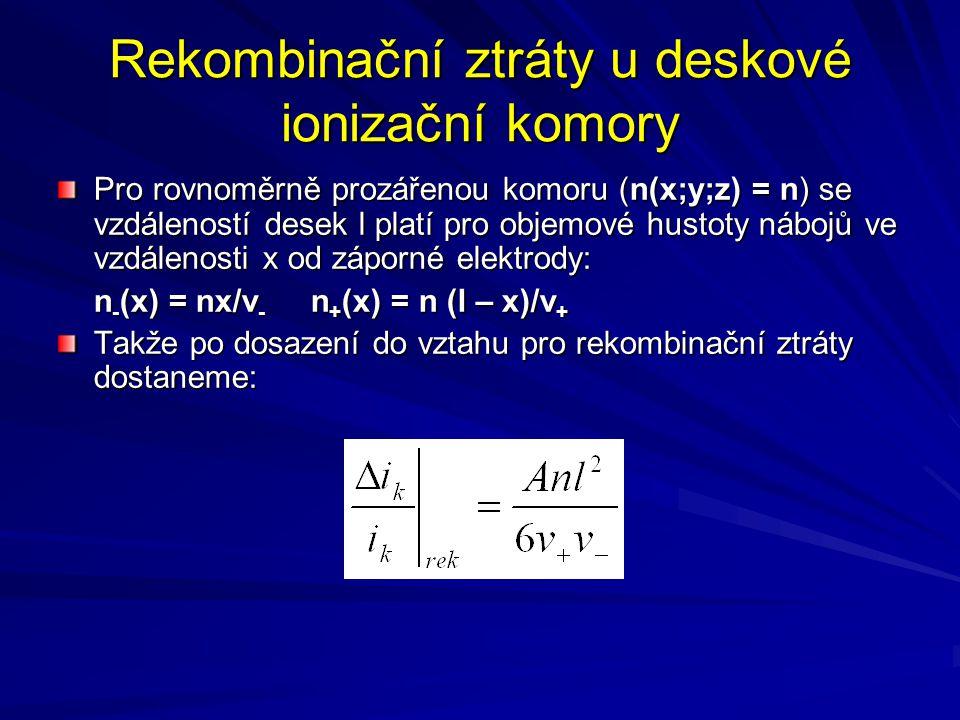 Rekombinační ztráty u deskové ionizační komory