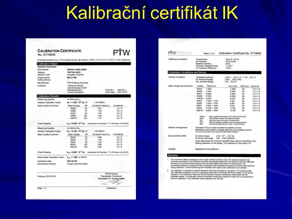 Kalibrační certifikát IK