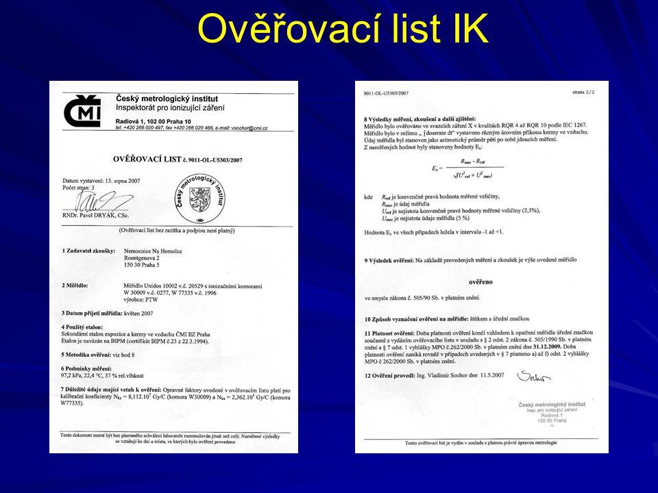 Ověřovací list IK