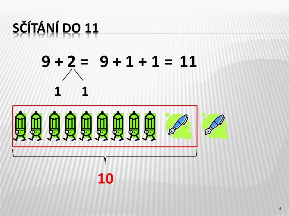 Sčítání do 11 9 + 2 = 9 + 1 + 1 = 11 1 1 10