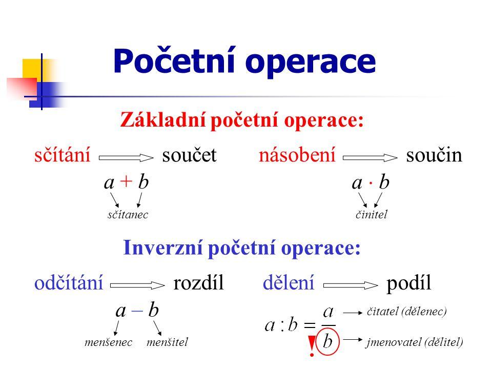 Základní početní operace: Inverzní početní operace: