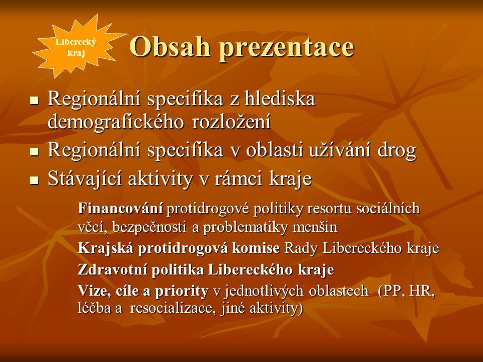 Obsah prezentace Liberecký. kraj. Regionální specifika z hlediska demografického rozložení. Regionální specifika v oblasti užívání drog.