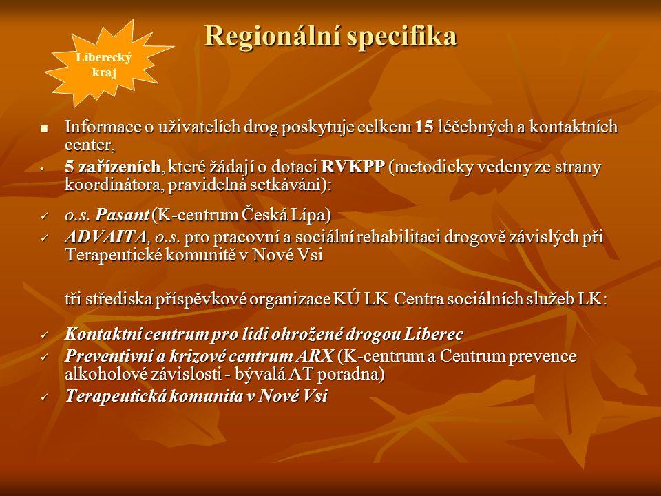 Liberecký kraj. Regionální specifika. Informace o uživatelích drog poskytuje celkem 15 léčebných a kontaktních center,