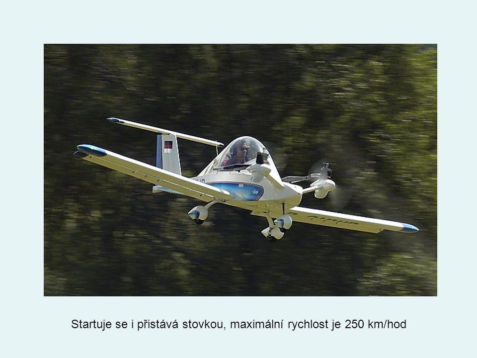 Startuje se i přistává stovkou, maximální rychlost je 250 km/hod