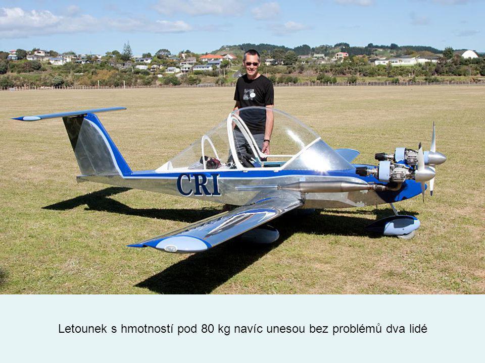 Letounek s hmotností pod 80 kg navíc unesou bez problémů dva lidé
