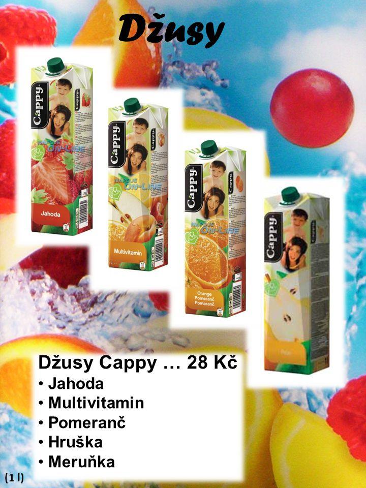 Džusy Džusy Cappy … 28 Kč Jahoda Multivitamin Pomeranč Hruška Meruňka