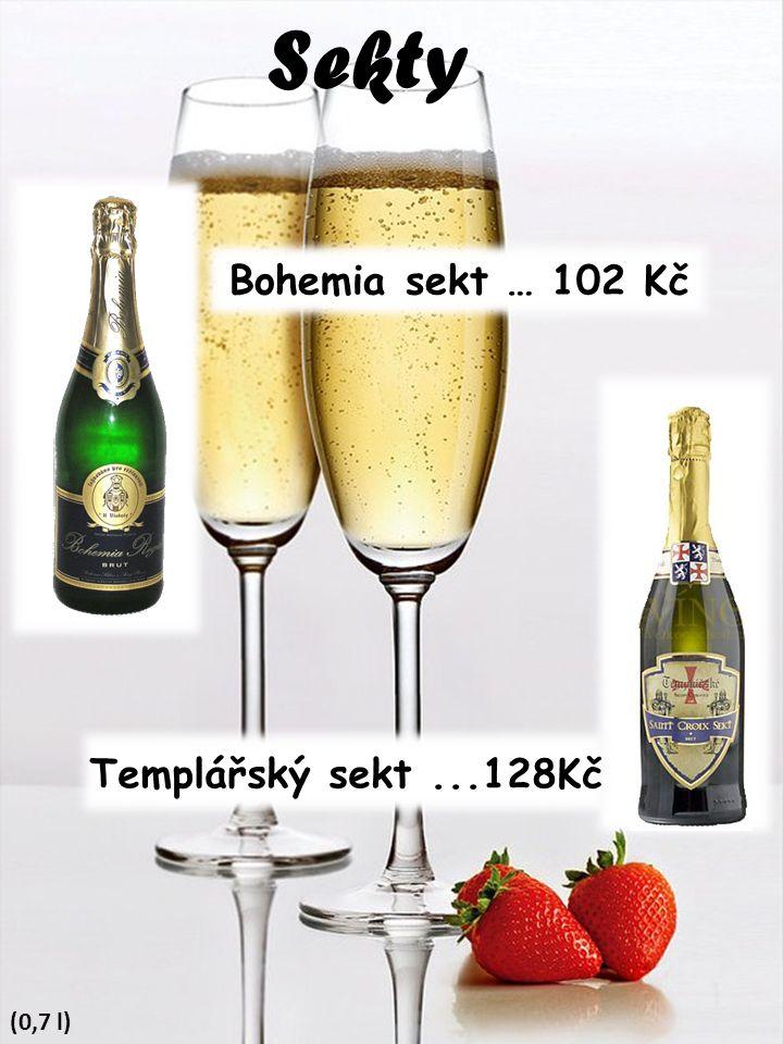 Sekty Bohemia sekt … 102 Kč Templářský sekt ...128Kč (0,7 l)