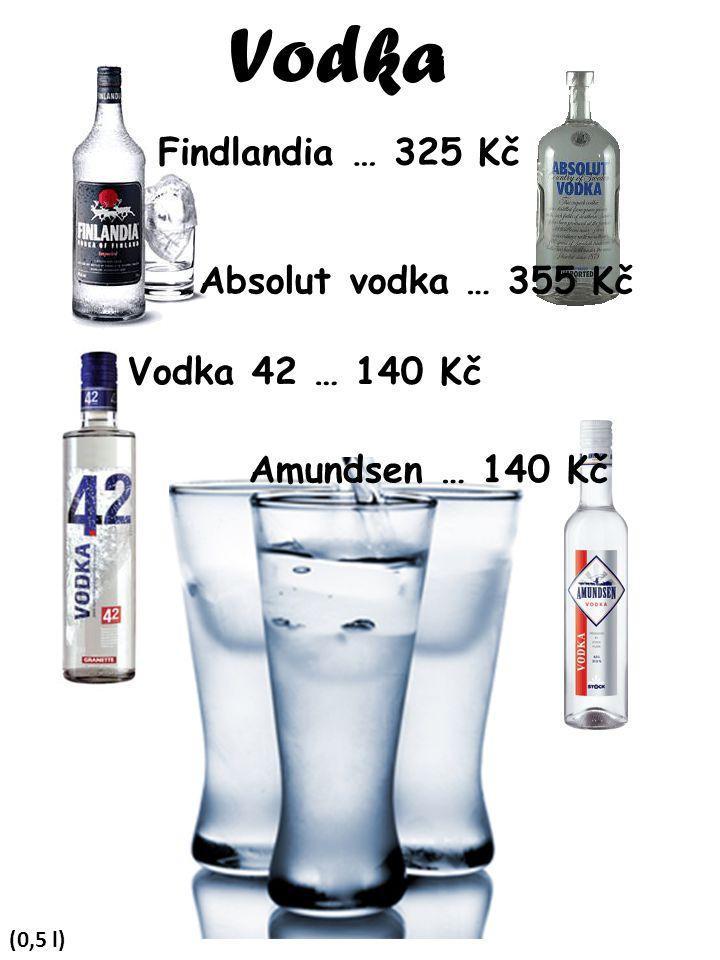 Vodka Findlandia … 325 Kč Absolut vodka … 355 Kč Vodka 42 … 140 Kč