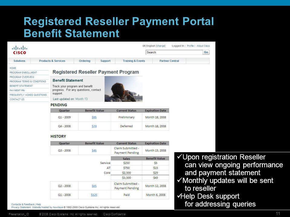 Registered Reseller Payment Portal Benefit Statement