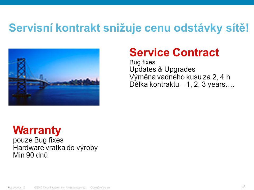 Servisní kontrakt snižuje cenu odstávky sítě!