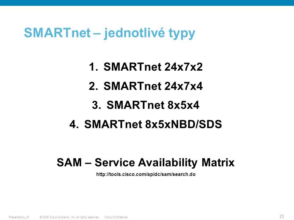 SMARTnet – jednotlivé typy