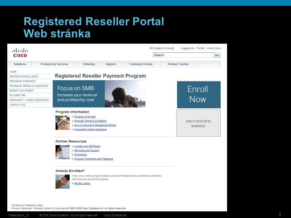 Registered Reseller Portal Web stránka