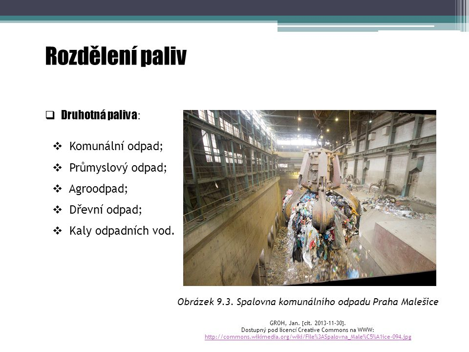 Rozdělení paliv Druhotná paliva: Komunální odpad; Průmyslový odpad;