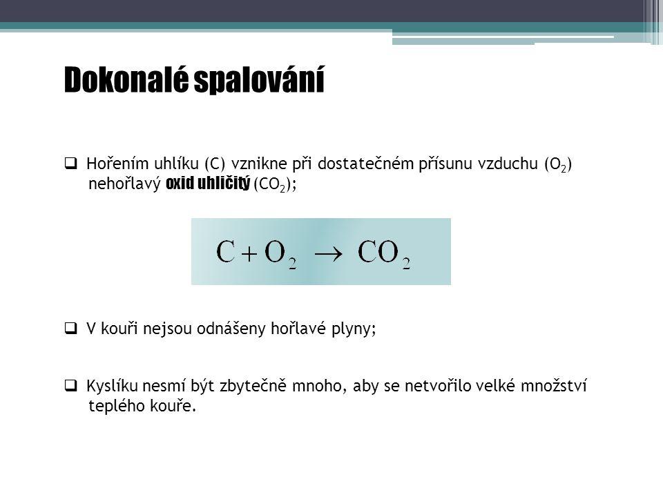 Dokonalé spalování Hořením uhlíku (C) vznikne při dostatečném přísunu vzduchu (O2) nehořlavý oxid uhličitý (CO2);