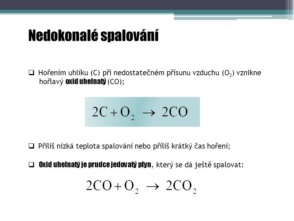 Nedokonalé spalování Hořením uhlíku (C) při nedostatečném přísunu vzduchu (O2) vznikne. hořlavý oxid uhelnatý (CO);