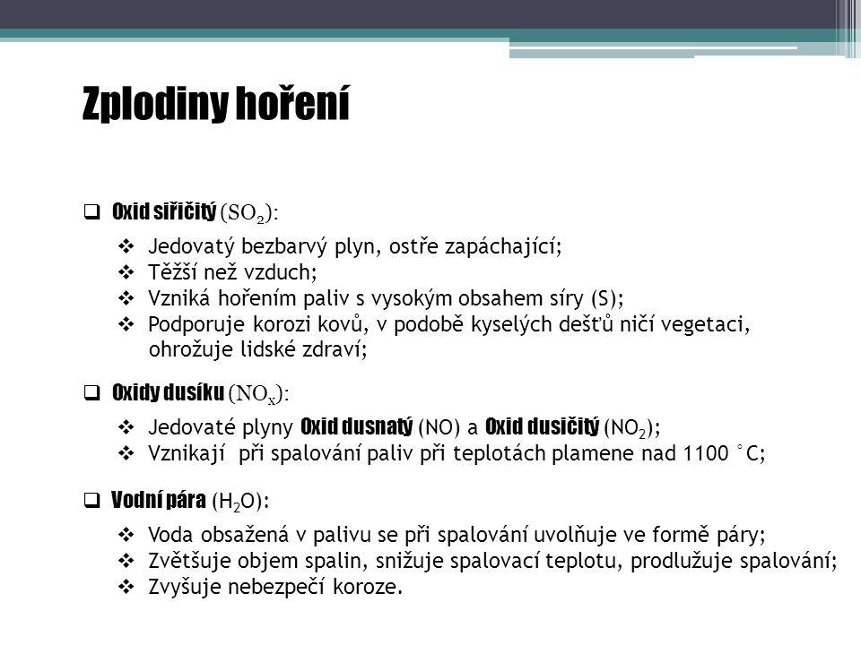 Zplodiny hoření Oxid siřičitý (SO2):