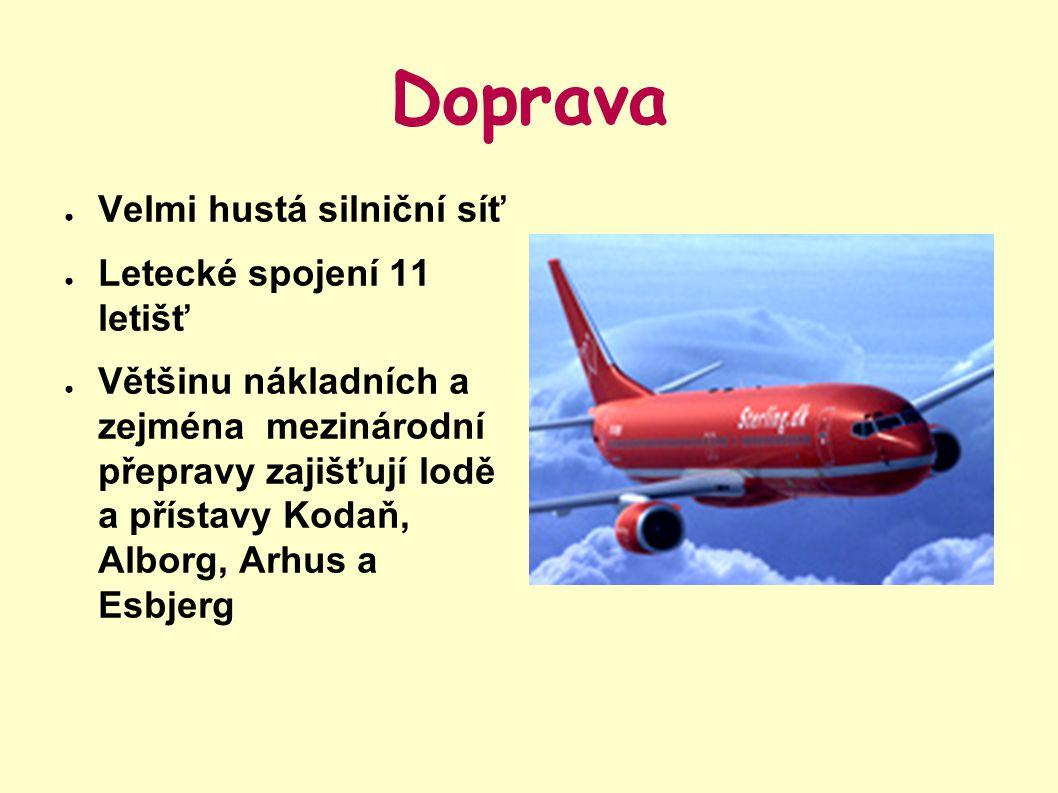 Doprava Velmi hustá silniční síť Letecké spojení 11 letišť