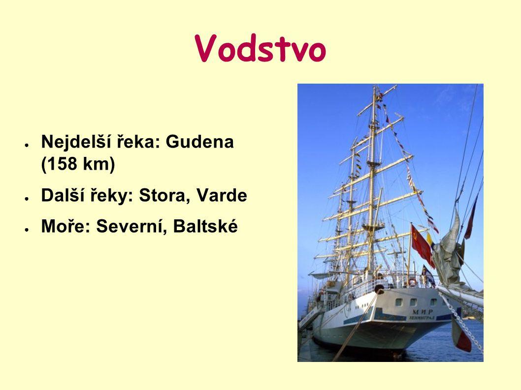 Vodstvo Nejdelší řeka: Gudena (158 km) Další řeky: Stora, Varde