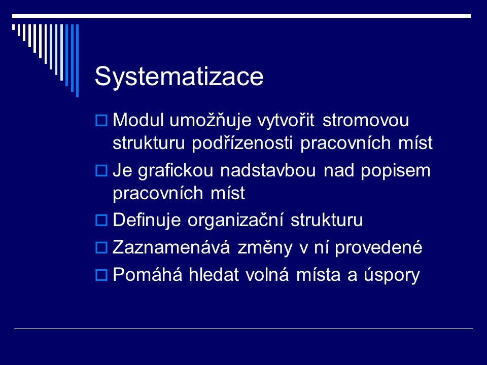 Systematizace Modul umožňuje vytvořit stromovou strukturu podřízenosti pracovních míst. Je grafickou nadstavbou nad popisem pracovních míst.