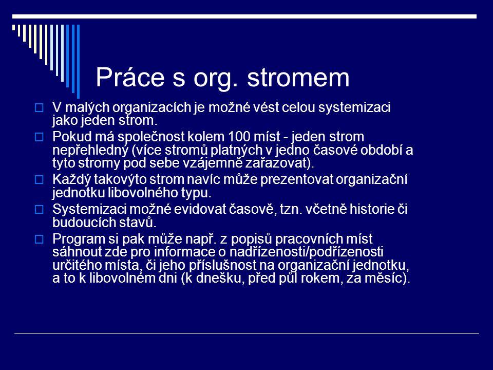 Práce s org. stromem V malých organizacích je možné vést celou systemizaci jako jeden strom.