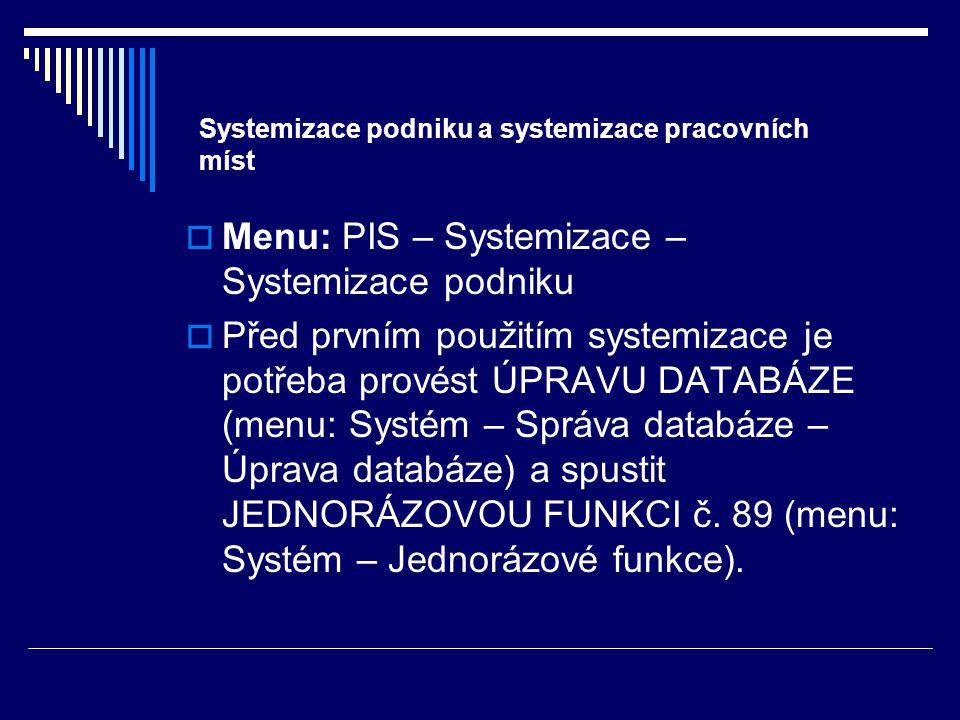 Systemizace podniku a systemizace pracovních míst