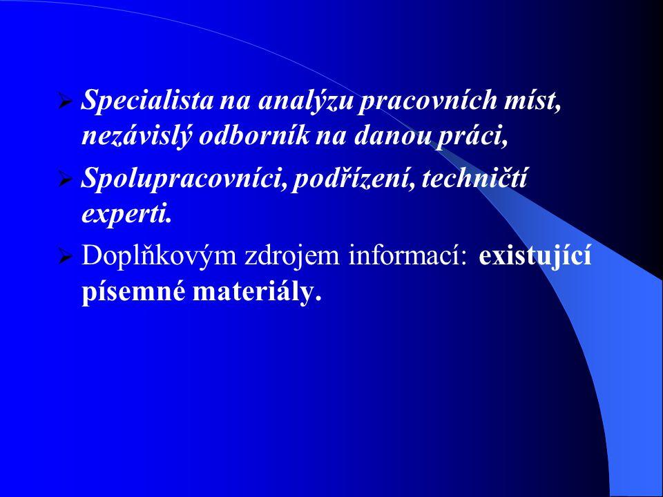 Specialista na analýzu pracovních míst, nezávislý odborník na danou práci,