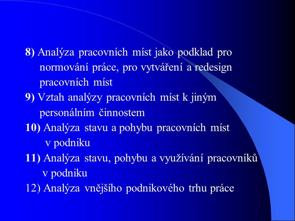 8) Analýza pracovních míst jako podklad pro