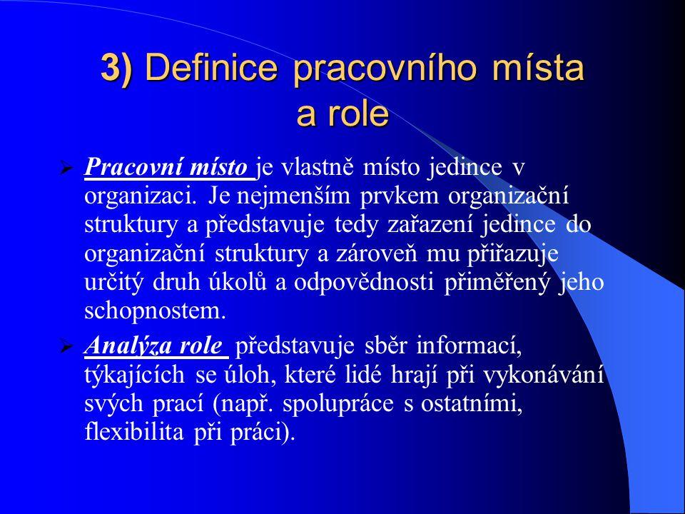 3) Definice pracovního místa a role
