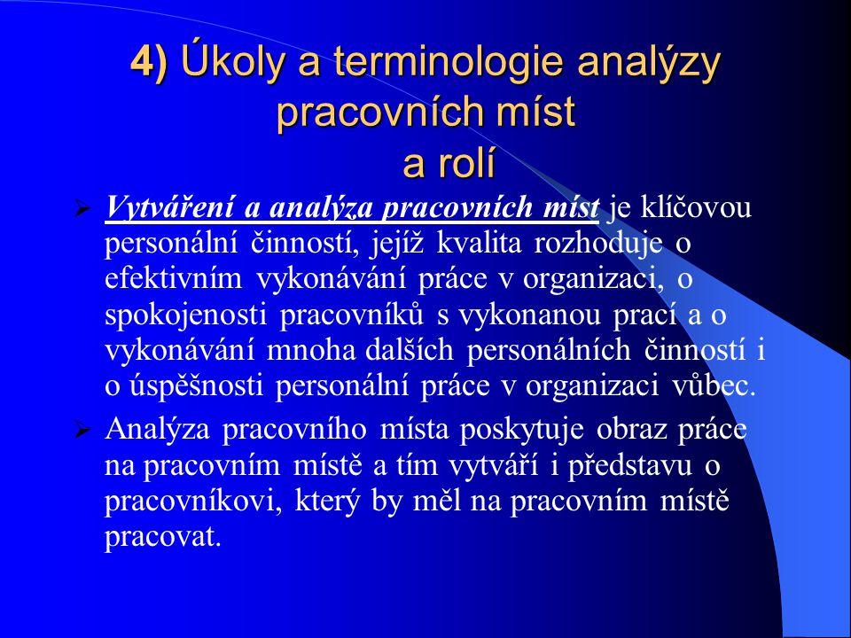 4) Úkoly a terminologie analýzy pracovních míst a rolí