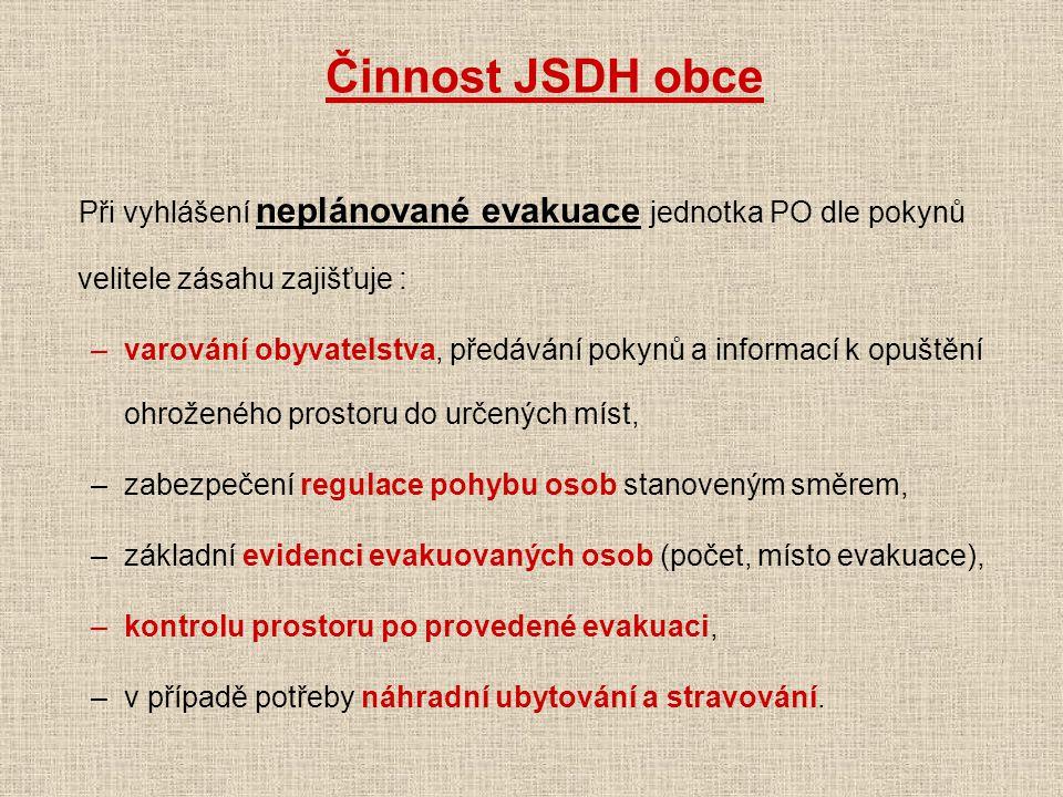 Činnost JSDH obce Při vyhlášení neplánované evakuace jednotka PO dle pokynů velitele zásahu zajišťuje :