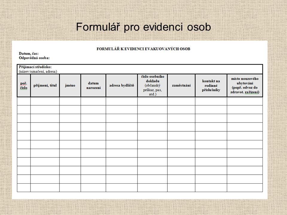 Formulář pro evidenci osob