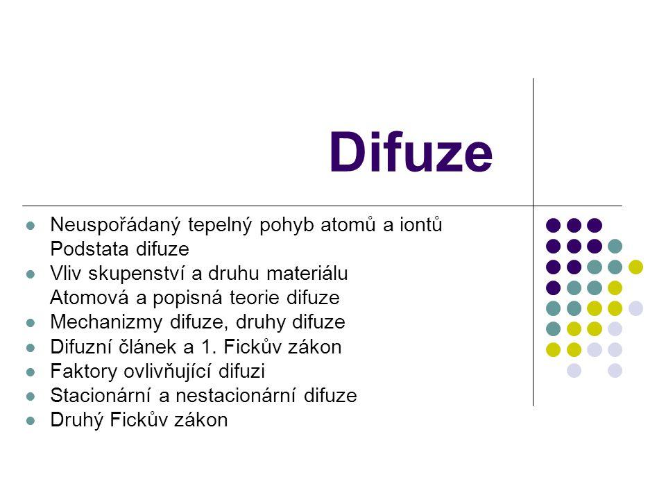 Difuze Neuspořádaný tepelný pohyb atomů a iontů Podstata difuze