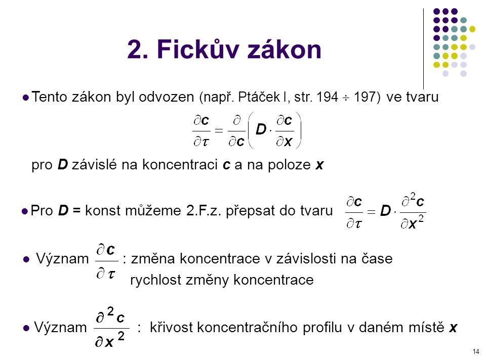 2. Fickův zákon Tento zákon byl odvozen (např. Ptáček I, str. 194  197) ve tvaru. pro D závislé na koncentraci c a na poloze x.