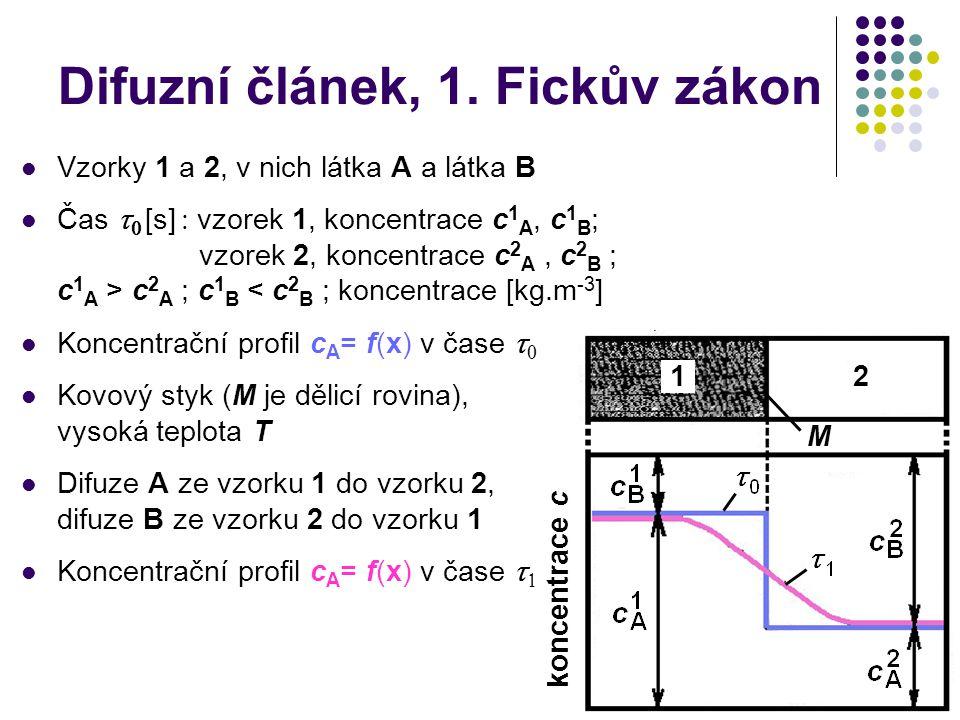 Difuzní článek, 1. Fickův zákon