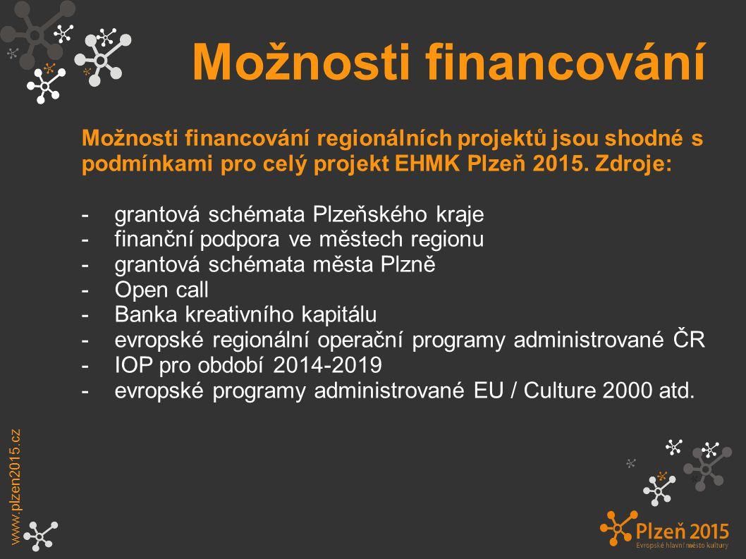Možnosti financování Možnosti financování regionálních projektů jsou shodné s podmínkami pro celý projekt EHMK Plzeň 2015. Zdroje: