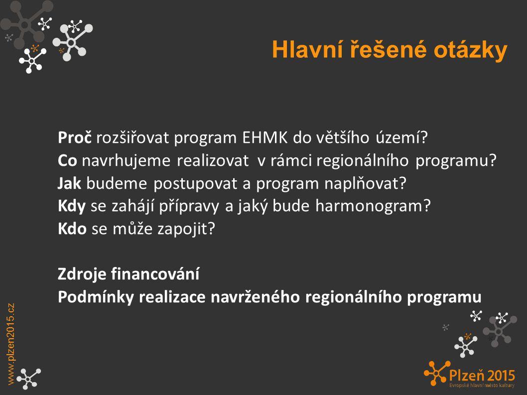 Hlavní řešené otázky Proč rozšiřovat program EHMK do většího území