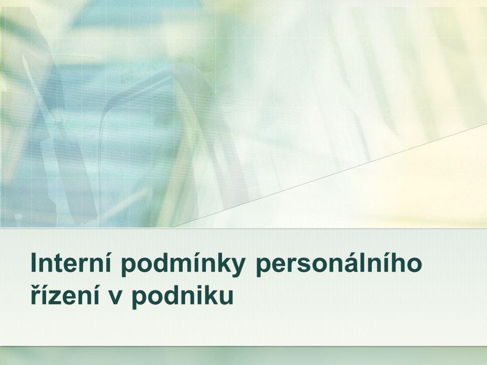 Interní podmínky personálního řízení v podniku