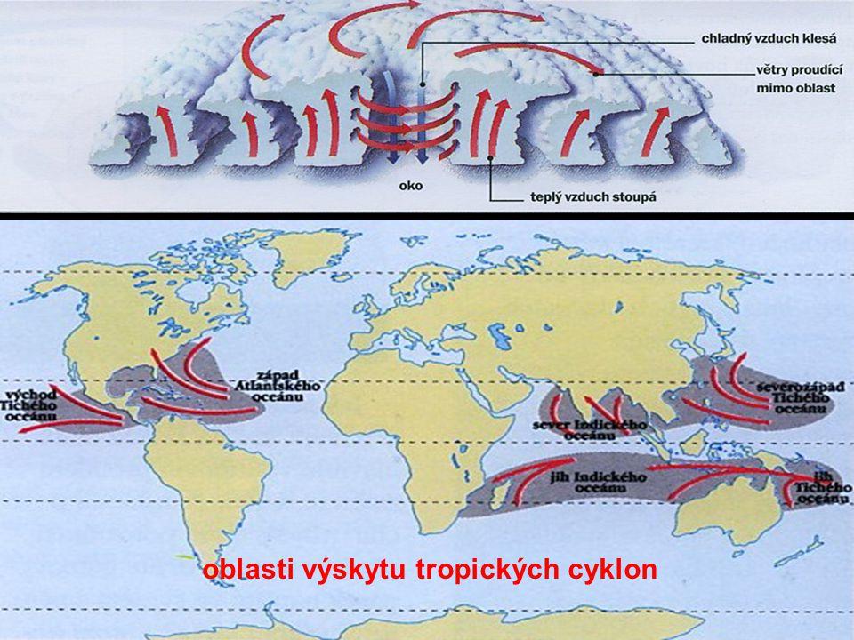 oblasti výskytu tropických cyklon