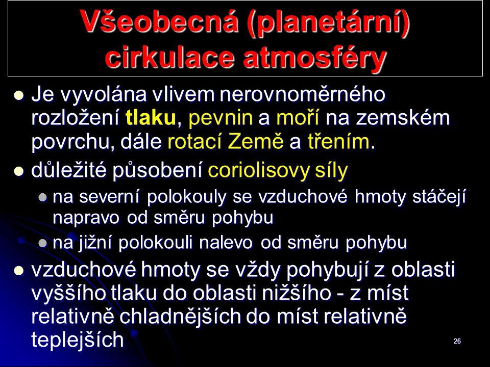 Všeobecná (planetární) cirkulace atmosféry