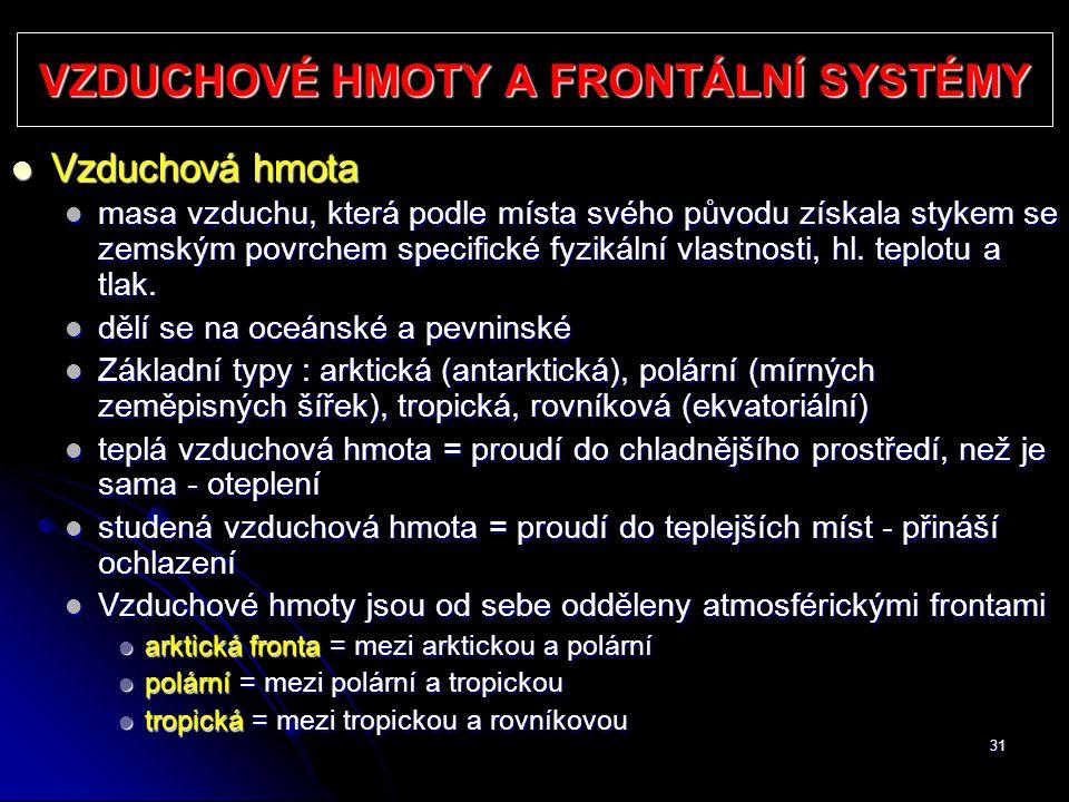 VZDUCHOVÉ HMOTY A FRONTÁLNÍ SYSTÉMY