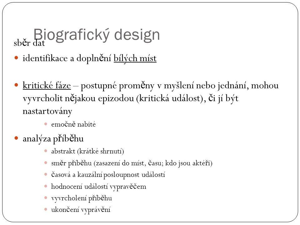 Biografický design sběr dat identifikace a doplnění bílých míst