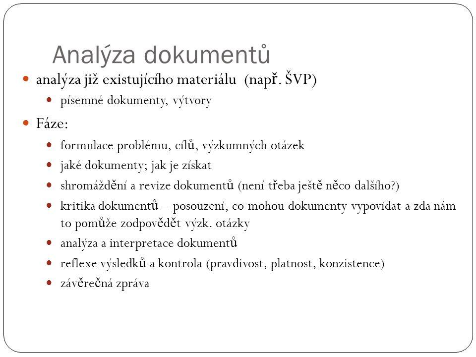 Analýza dokumentů analýza již existujícího materiálu (např. ŠVP) Fáze: