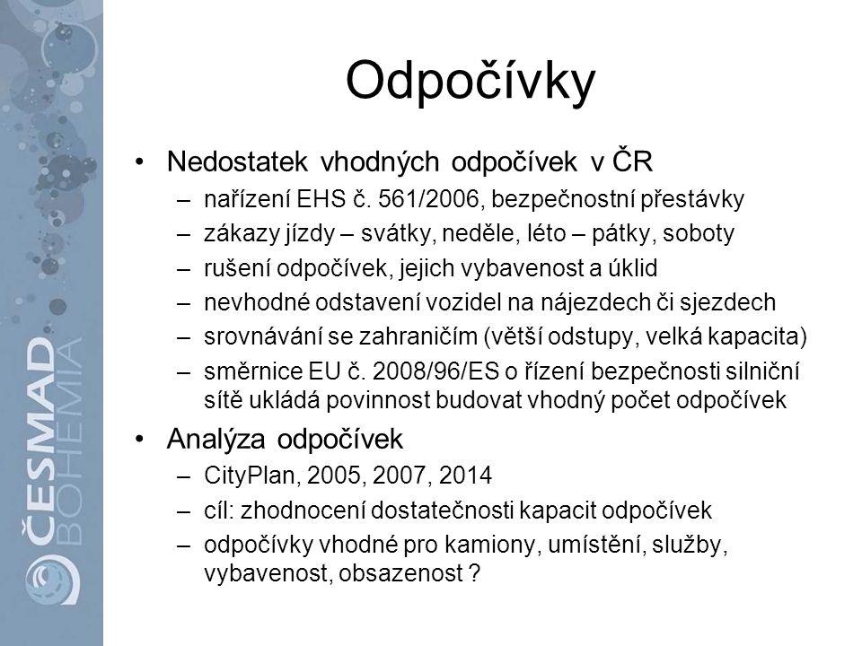 Odpočívky Nedostatek vhodných odpočívek v ČR Analýza odpočívek